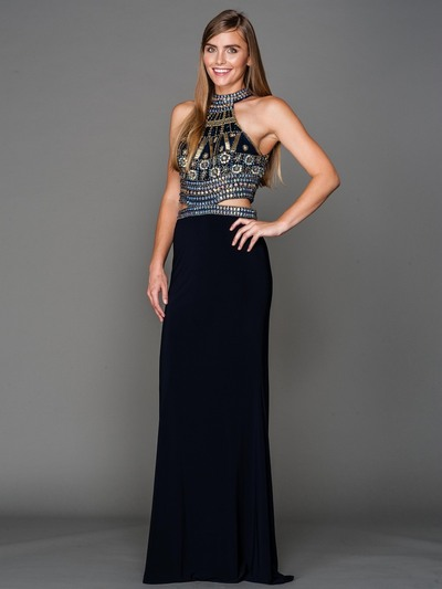AC804 Halter Jeweled Top Evening Dress - Navy, Front View Medium
