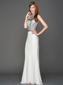 AC804 Halter Jeweled Top Evening Dress - Off White, Front View Thumbnail