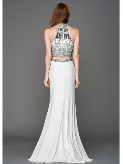 AC804 Halter Jeweled Top Evening Dress - Off White, Back View Medium