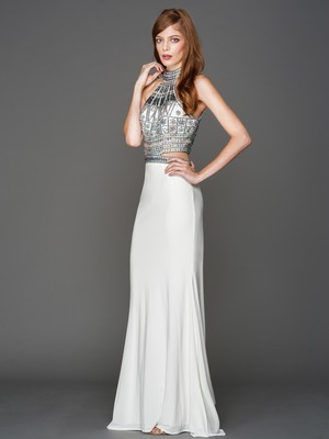 AC804 Halter Jeweled Top Evening Dress, Off White
