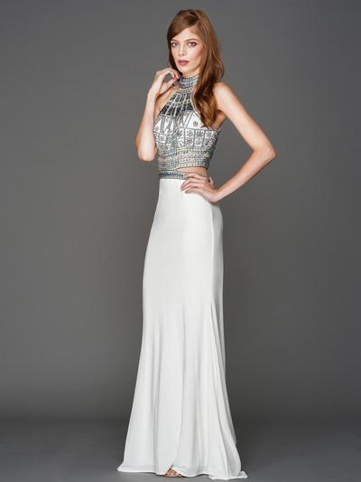 AC804 Halter Jeweled Top Evening Dress - Off White, Front View Medium