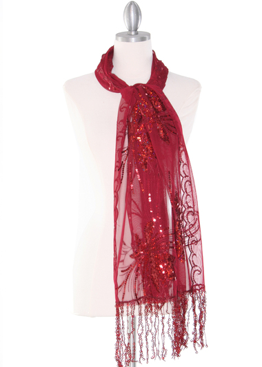 AS832 Rectangle Sheer Lace Sequin Shawl - Burgundy, Front View Medium