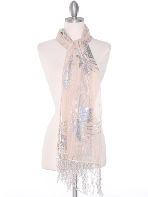 AS832 Rectangle Sheer Lace Sequin Shawl, Gold