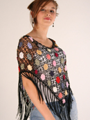 Large Flower Crochet Poncho