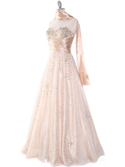 B3468 Gold Lace Prom Gown - Gold, Alt View Medium