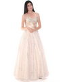 B3468 Gold Lace Prom Gown - Gold, Front View Thumbnail