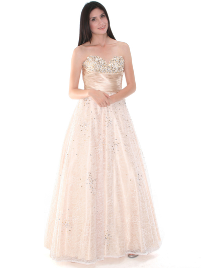 B3468 Gold Lace Prom Gown - Gold, Front View Medium
