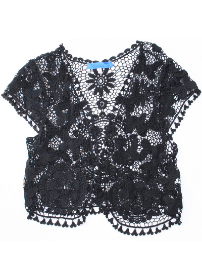 BA3230 Cap Sleeve Crochet Bolero - Black, Front View Medium
