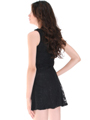 BA793 Lace Day and Night Cocktail Dress - Black, Back View Thumbnail