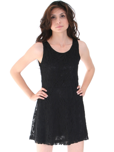 BA793 Lace Day and Night Cocktail Dress - Black, Front View Medium