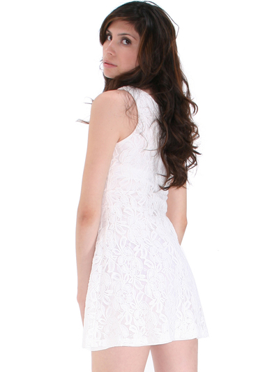 BA793 Lace Day and Night Cocktail Dress - White, Back View Medium