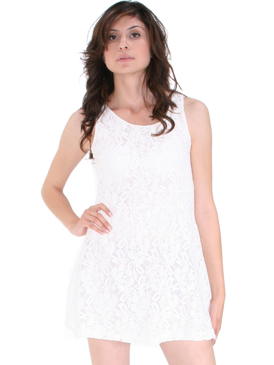 BA793 Lace Day and Night Cocktail Dress - White, Front View Medium