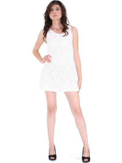 BA793 Lace Day and Night Cocktail Dress - White, Alt View Medium
