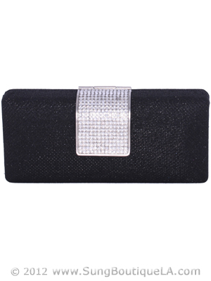 C028 Black Glitering Evening Clutch with Rhinestone Clip, Black