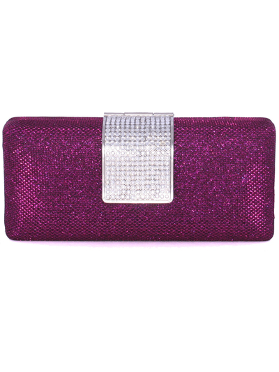 C028 Rose Glitering Evening Clutch with Rhinestone Clip - Rose, Front View Medium