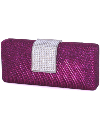 C028 Rose Glitering Evening Clutch with Rhinestone Clip - Rose, Alt View Medium