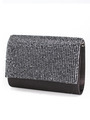 C033 Rhinestone Studded Face Evening Clutch - Black, Front View Thumbnail
