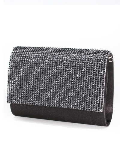 C033 Rhinestone Studded Face Evening Clutch - Black, Front View Medium