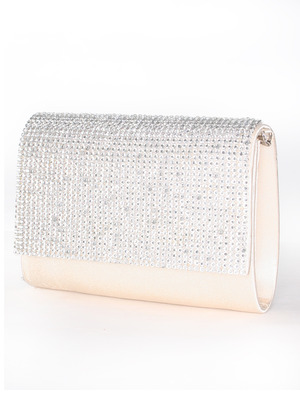 C033 Rhinestone Studded Face Evening Clutch, Champagne