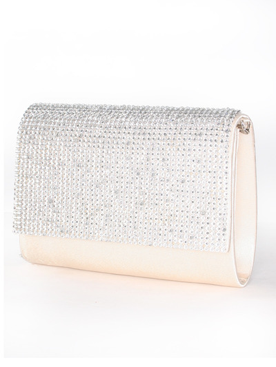 C033 Rhinestone Studded Face Evening Clutch - Champagne, Front View Medium