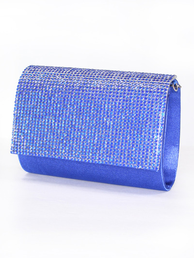 C033 Rhinestone Studded Face Evening Clutch - Royal Blue, Front View Medium