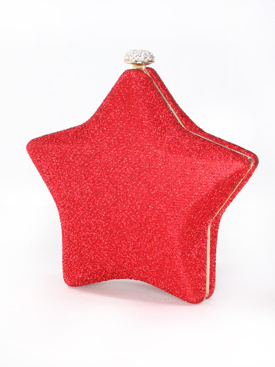 C037 I am A Star Hard Shell Evening Clutch - Red, Front View Medium