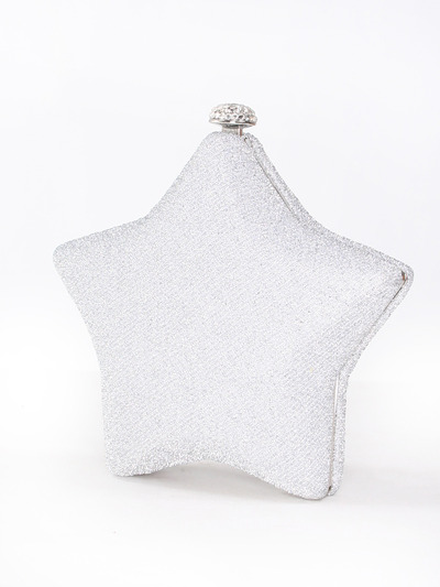 C037 I am A Star Hard Shell Evening Clutch - Silver, Front View Medium