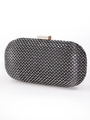 C039 Sparkling Oval Hard Shell Evening Clutch - Black, Front View Thumbnail