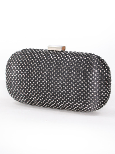 C039 Sparkling Oval Hard Shell Evening Clutch - Black, Front View Medium