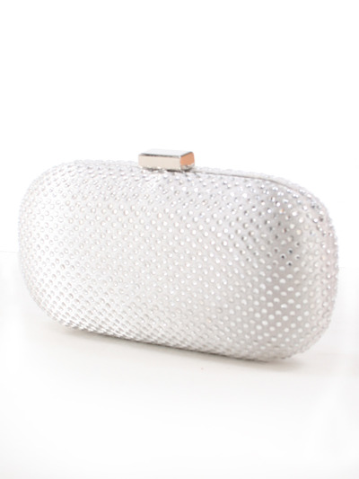 C039 Sparkling Oval Hard Shell Evening Clutch - Silver, Front View Medium