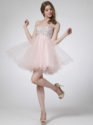 C1033 Strapless Sweetheart Homecoming Dress, Pink