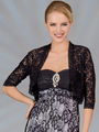 C117 Lace 3/4 Sleeve Bolero - Black, Front View Thumbnail