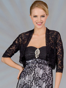 C117 Lace 3/4 Sleeve Bolero, Black