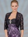 C117 Lace 3/4 Sleeve Bolero - Black, Alt View Thumbnail