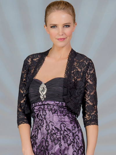 C117 Lace 3/4 Sleeve Bolero - Black, Alt View Medium