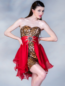 Leopard Print and Red Overlay Short Prom Dress