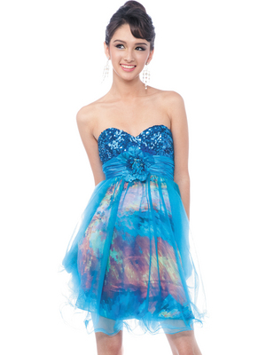 C125PRINT Sequin Top Prom Dress, Turquoise