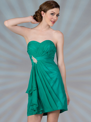 C1291 Pleated Cocktail Dress, Jade