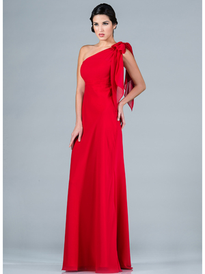 C1294 One Shoulder Chiffon Evening Dress, Red