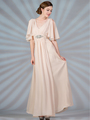 C1295 Flutter Sleeve Mother of the Bride Dress - Champagne, Front View Thumbnail