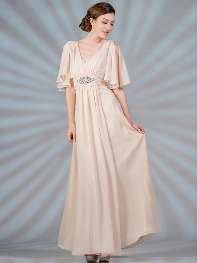 C1295 Flutter Sleeve Mother of the Bride Dress - Champagne, Front View Medium