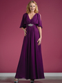 C1295 Flutter Sleeve Mother of the Bride Dress - Eggplant, Front View Thumbnail