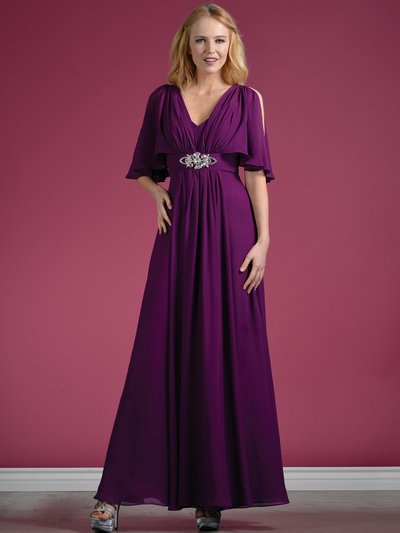 C1295 Flutter Sleeve Mother of the Bride Dress - Eggplant, Front View Medium
