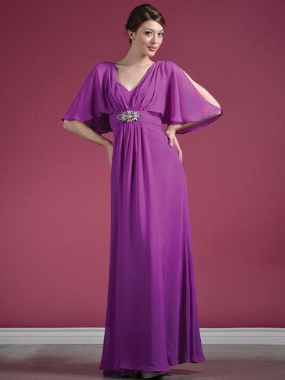 C1295 Flutter Sleeve Mother of the Bride Dress - Light Purple, Front View Medium