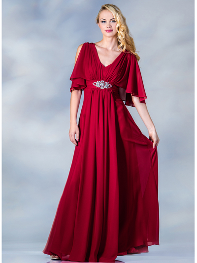 C1295 Flutter Sleeve Mother of the Bride Dress - Red, Front View Medium