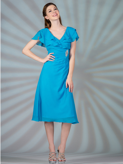 C1297 Flowy Chiffon Cocktail Dress - Blue, Front View Medium