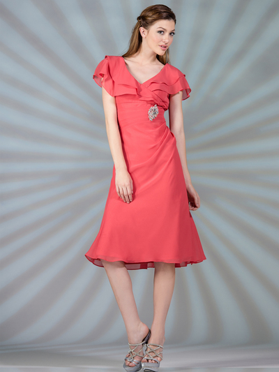 C1297 Flowy Chiffon Cocktail Dress - Coral, Front View Medium