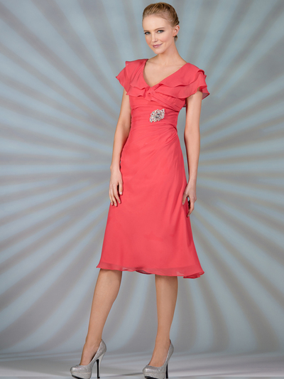 C1297 Flowy Chiffon Cocktail Dress - Coral, Alt View Medium