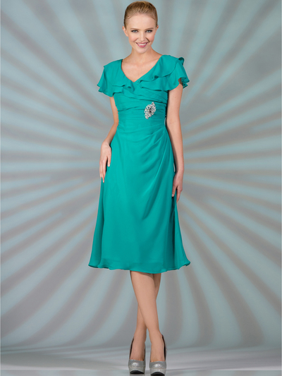 C1297 Flowy Chiffon Cocktail Dress - Jade, Front View Medium
