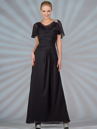 C1299 Chiffon Sleeves Evening Dress - Black, Front View Medium
